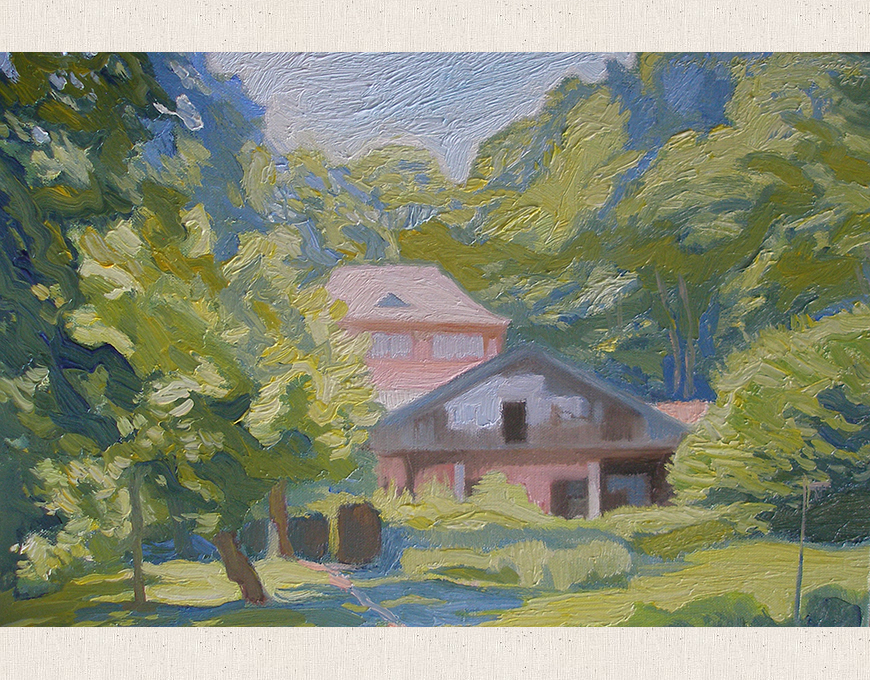 """Summer. House in flowers"" 20x30, 2010"
